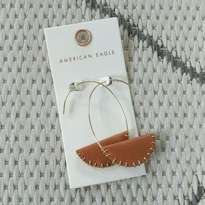 NWT faux leather and gold hoops